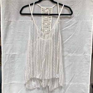 Free People Sheer Crochet Lace Tank Top Ivory S